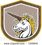 Vector Clip Art of Retro Unicorn Head in a Shield by Patrimonio