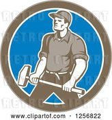 Vector Clip Art of Retro Union Worker Carrying a Sledgehammer in a Brown White and Blue Circle by Patrimonio