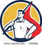 Vector Clip Art of Retro Union Worker Guy Holding a Flag over His Shoulder in a Blue White and Yellow Circle by Patrimonio