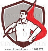 Vector Clip Art of Retro Union Worker Guy Holding a Flag over His Shoulder in a Brown White and Gray Shield by Patrimonio