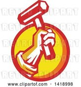 Vector Clip Art of Retro Union Worker Hand Holding up a Hammer or Mallet in a Red Orange and Yellow Circle by Patrimonio