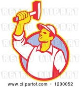 Vector Clip Art of Retro Union Worker Holding up a Hammer over a Circle by Patrimonio
