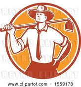 Vector Clip Art of Retro Urban Farmer Wearing a Neck Tie and Holding a Hoe over His Shoulder by Patrimonio