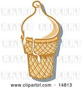 Vector Clip Art of Retro Vanilla Ice Cream in a Cone, Melting over the Rim by Andy Nortnik