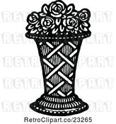 Vector Clip Art of Retro Vase of Roses by Prawny Vintage