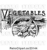 Vector Clip Art of Retro Vegetables Text with Produce by Prawny Vintage