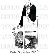 Vector Clip Art of Retro Vexed Guy in a Chair by Prawny Vintage