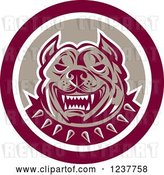 Vector Clip Art of Retro Vicious Pitbull Security Dog in a Circle by Patrimonio