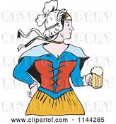 Vector Clip Art of Retro Victorian Beer Maiden by Patrimonio