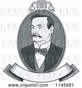 Vector Clip Art of Retro Victorian Grayscale Gentleman Portrait with a Banner by Patrimonio