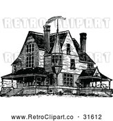 Vector Clip Art of Retro Victorian Queen Anne Style House 1 by Prawny Vintage