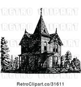 Vector Clip Art of Retro Victorian Queen Anne Style House 2 by Prawny Vintage