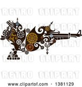 Vector Clip Art of Retro Victorian Steampunk Riffle with Gears by BNP Design Studio