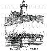 Vector Clip Art of Retro View of Long Island Lighthouse by Prawny Vintage