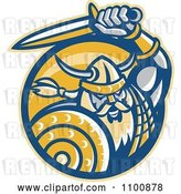 Vector Clip Art of Retro Viking Norseman with a Shield and Sword in a Yellow Circle by Patrimonio