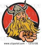 Vector Clip Art of Retro Viking Warrior Holding out Hazelnuts and Emerging from a Black and Red Circle by Patrimonio