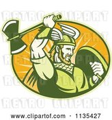 Vector Clip Art of Retro Viking Warrior with a Winged Helmet and Battle Axe in an Oval by Patrimonio