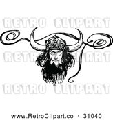 April 16th, 2018: Vector Clip Art of Retro Viking with a Ribbon by Prawny Vintage