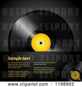 Vector Clip Art of Retro Vinyl Record Album with a Yellow Center over Black with Sample Text by Elaineitalia