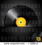 Vector Clip Art of Retro Vinyl Record Album with a Yellow Center over Black with Text Space by Elaineitalia