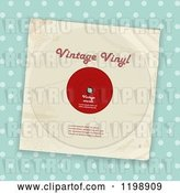 Vector Clip Art of Retro Vinyl Record Album with Sample Text over Blue Polka Dots by Elaineitalia