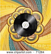 Vector Clip Art of Retro Vinyl Record Background with Loops and Swirls by Elaineitalia