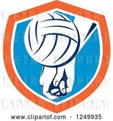 Vector Clip Art of Retro Volleyball and Hands in a Blue and Orange Shield by Patrimonio