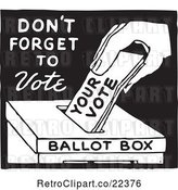 Vector Clip Art of Retro Voter Putting a Ballot in a Box with Dont Forget to Vote Text by BestVector