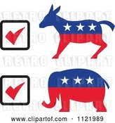 Vector Clip Art of Retro Voting Check Boxes with Republican Elephant and Democratic Donkey by Patrimonio