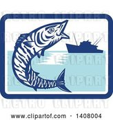 Vector Clip Art of Retro Wahoo Scombrid Fish Jumping near a Silhouetted Fishing Boat in a Blue and White Rectangle by Patrimonio