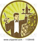 Vector Clip Art of Retro Waiter Carrying Wine and a Corkscrew in a Circle of Rays Grapes and Barrels by Patrimonio