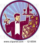 Vector Clip Art of Retro Waiter Guy Holding a Corkscrew and Wine Tray over Barrels in a Circle by Patrimonio
