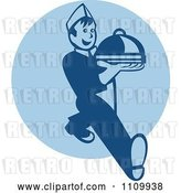 Vector Clip Art of Retro Waiter Serving a Platter over a Blue Circle by Patrimonio