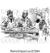 Vector Clip Art of Retro Waitress and Men in a Restaurant by Prawny Vintage