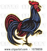 Vector Clip Art of Retro Walking Rooster Logo by Patrimonio