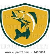 Vector Clip Art of Retro Walleye Fish Jumping in a Green White and Orange Shield by Patrimonio