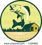 Vector Clip Art of Retro Walleye Fish Jumping in Front of a Lake Cabin in a Green and Orange Circle by Patrimonio
