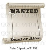 Vector Clip Art of Retro Wanted Dead or Alive Poster with Bullet Holes by AtStockIllustration
