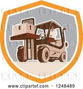 Vector Clip Art of Retro Warehouse Worker Moving a Crate on a Forklift in a Shield by Patrimonio