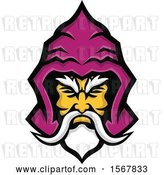 Vector Clip Art of Retro Warlock Head with a Hood by Patrimonio