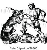 Vector Clip Art of Retro Warrior Guy Fighting a Dog by Prawny Vintage