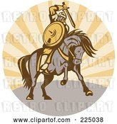 Vector Clip Art of Retro Warrior Holding a Sword on Horseback by Patrimonio