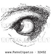 Vector Clip Art of Retro Watchful Eye in Black and White by Picsburg