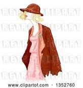 Vector Clip Art of Retro Water Color Styled Blond Lady in Apparel by BNP Design Studio