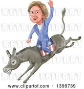 Vector Clip Art of Retro Watercolor Caricature of Hillary Clinton Riding a Democratic Donkey by Patrimonio