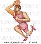 Vector Clip Art of Retro Watercolor Caricature Styled Basketball Player Dunking by Patrimonio