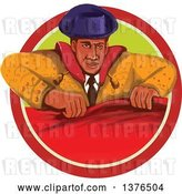 Vector Clip Art of Retro Watercolor Styled Bullfighter Matador Holding a Cape in a Circle by Patrimonio