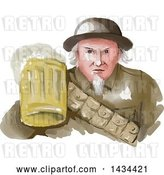 Vector Clip Art of Retro Watercolor Styled Uncle Same WWII Soldier Holding up a Mug of Beer by Patrimonio