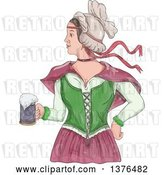Vector Clip Art of Retro Watercolor Styled Victorian Beer Maiden Holding a Mug by Patrimonio