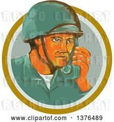 Vector Clip Art of Retro Watercolor Styled WWII American Soldier Talking on a Field Radio in an Orange Circle by Patrimonio